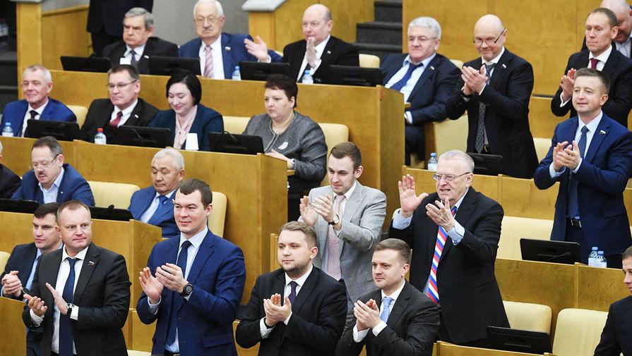 Государственная Дума. Лидеры парламентских фракций о Навальном. Жириновский, Зюганов, Миронов